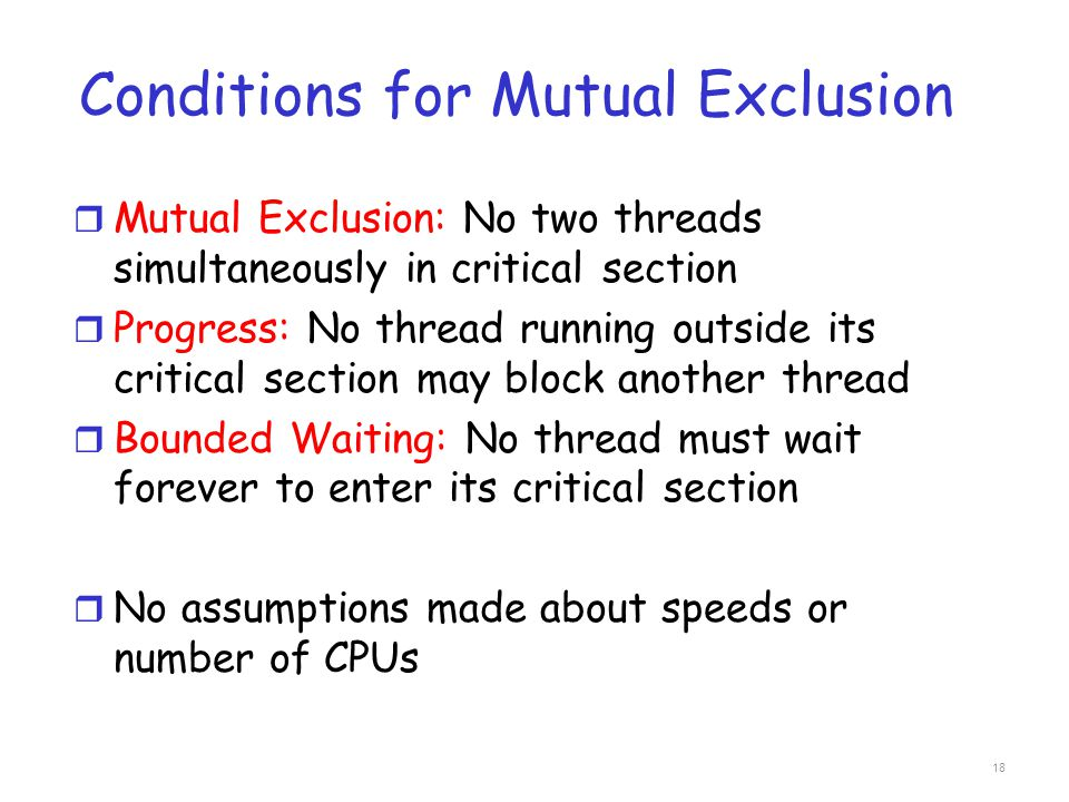 Conditions for Mutual Exclusion