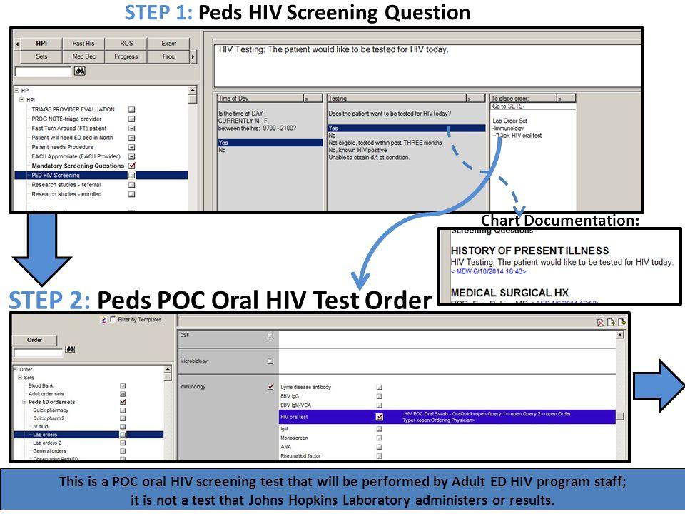 STEP 2: Peds POC Oral HIV Test Order