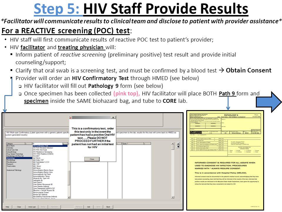 Step 5: HIV Staff Provide Results