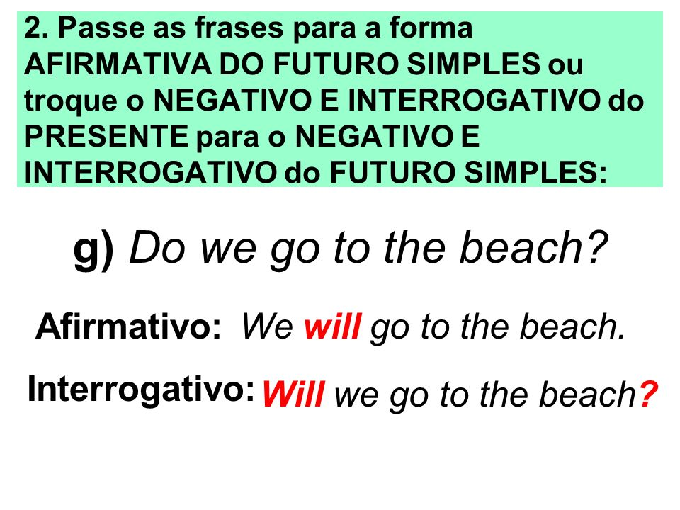 g) Do we go to the beach Afirmativo: We will go to the beach.