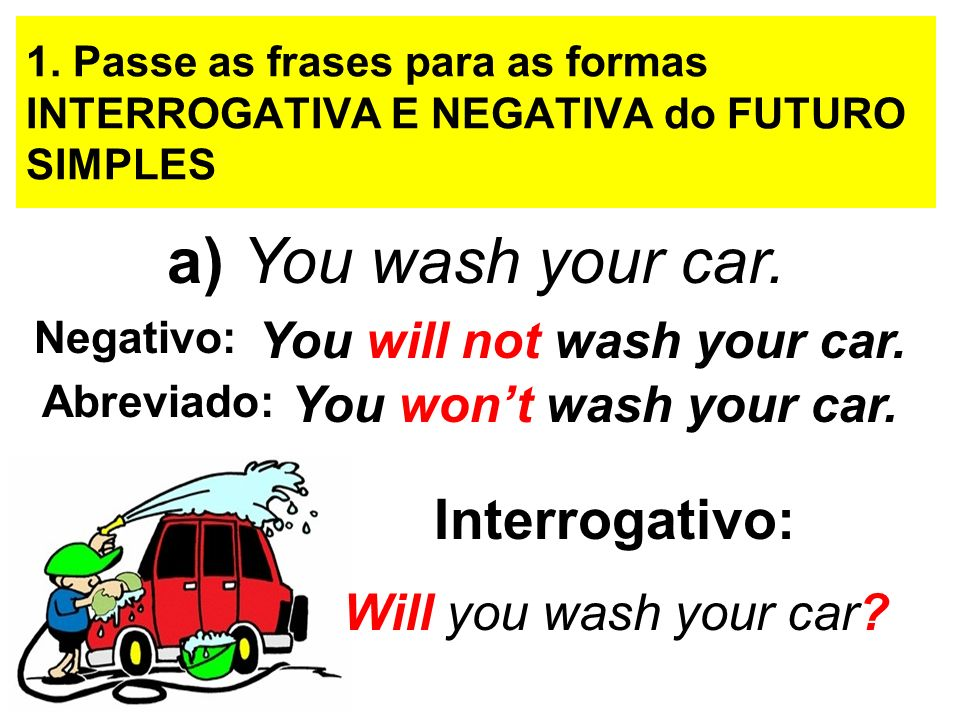 a) You wash your car. Interrogativo: You will not wash your car.