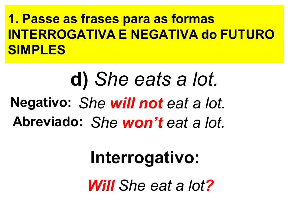d) She eats a lot. Interrogativo: She will not eat a lot.