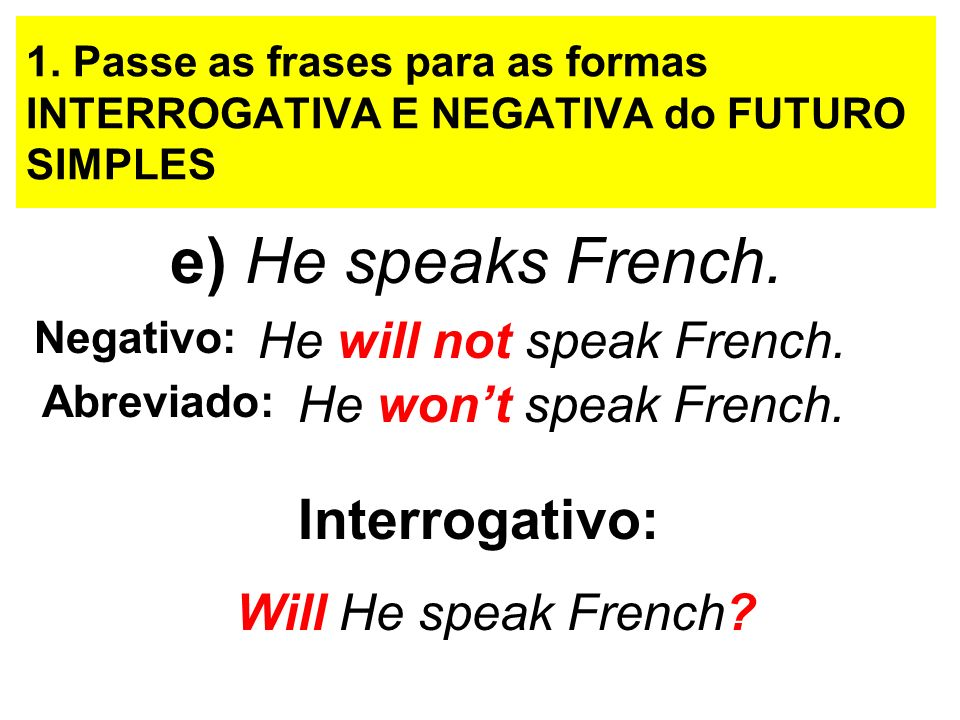 e) He speaks French. Interrogativo: He will not speak French.