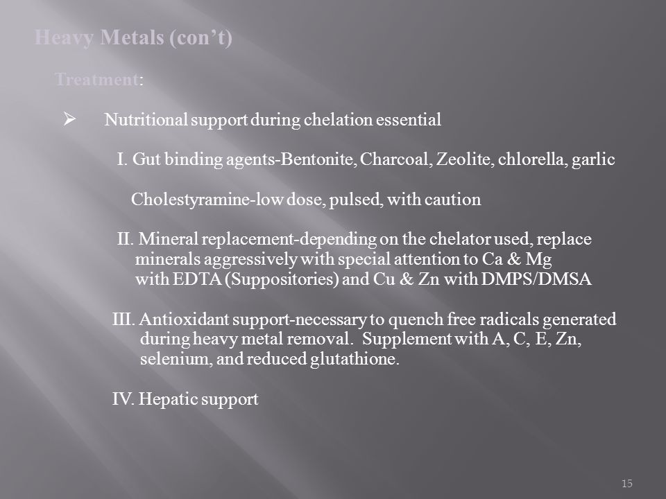 Nutritional support during chelation essential