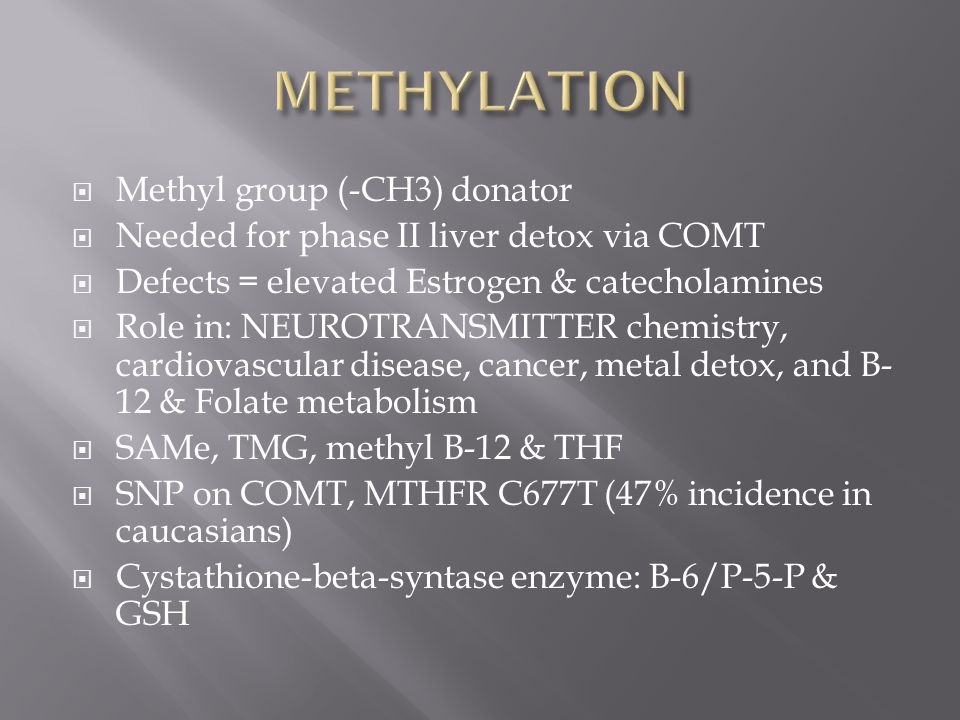 METHYLATION Methyl group (-CH3) donator