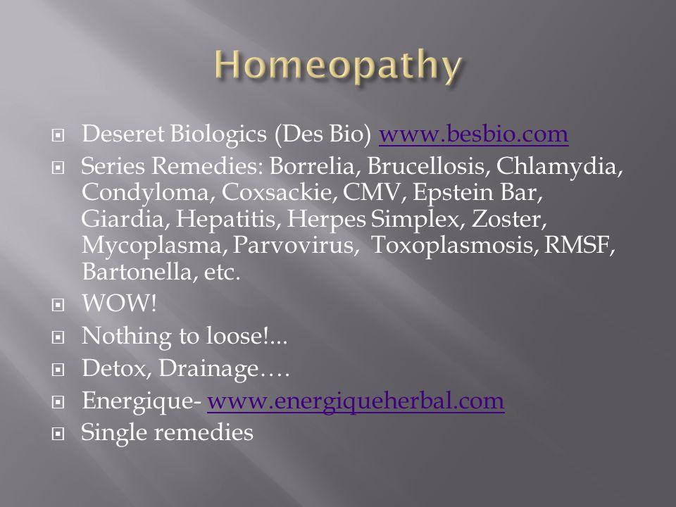 Homeopathy Deseret Biologics (Des Bio) www.besbio.com