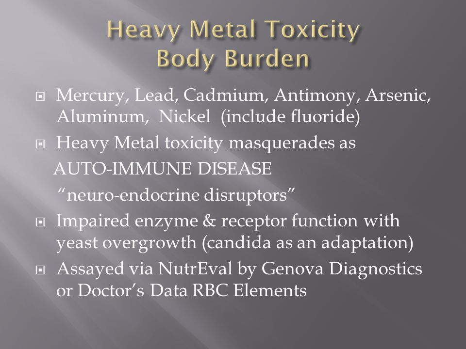 Heavy Metal Toxicity Body Burden