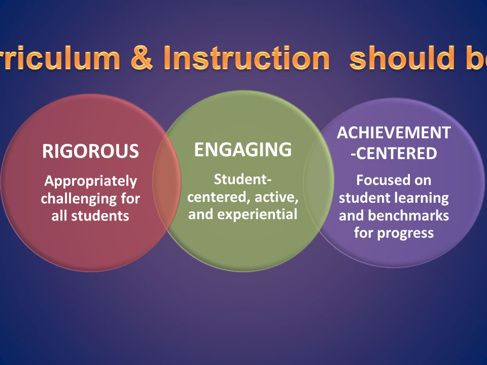 Curriculum & Instruction should be…