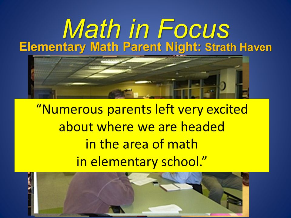 Elementary Math Parent Night: Strath Haven Middle School