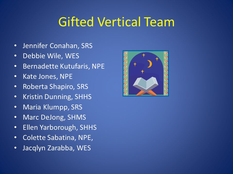 Gifted Vertical Team Jennifer Conahan, SRS Debbie Wile, WES