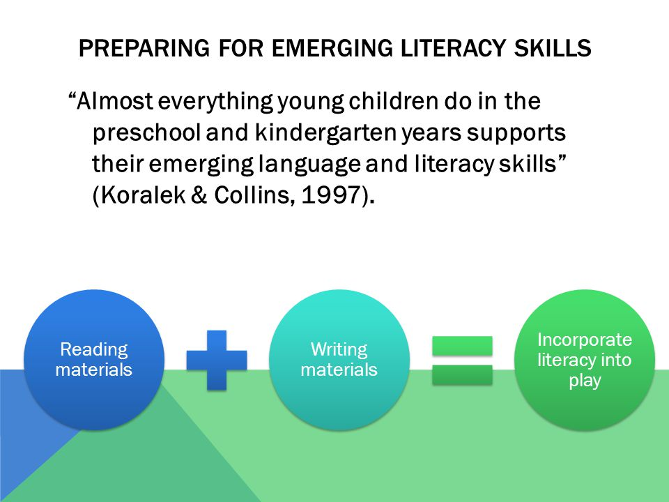 Preparing for emerging literacy skills