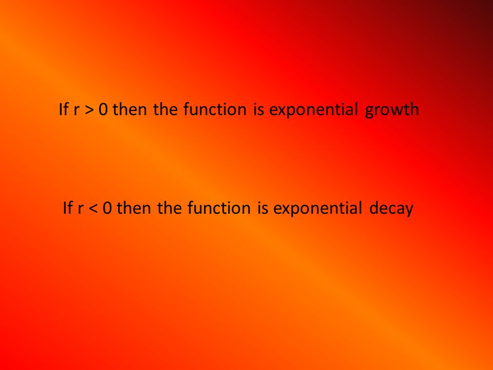 If r > 0 then the function is exponential growth