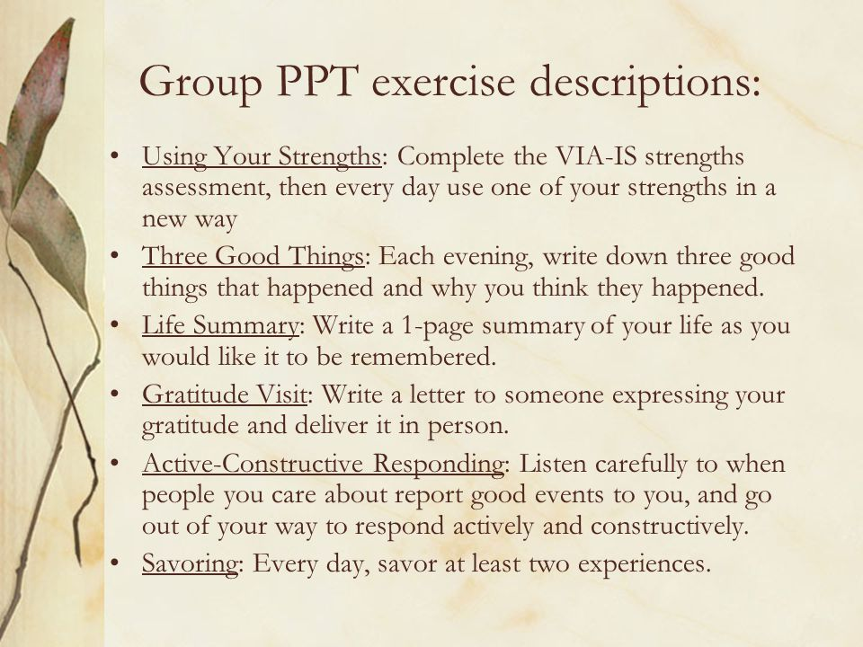 Group PPT exercise descriptions:
