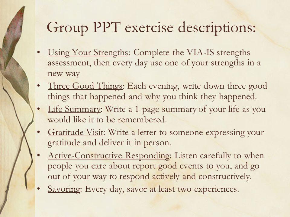 Group PPT exercise descriptions: