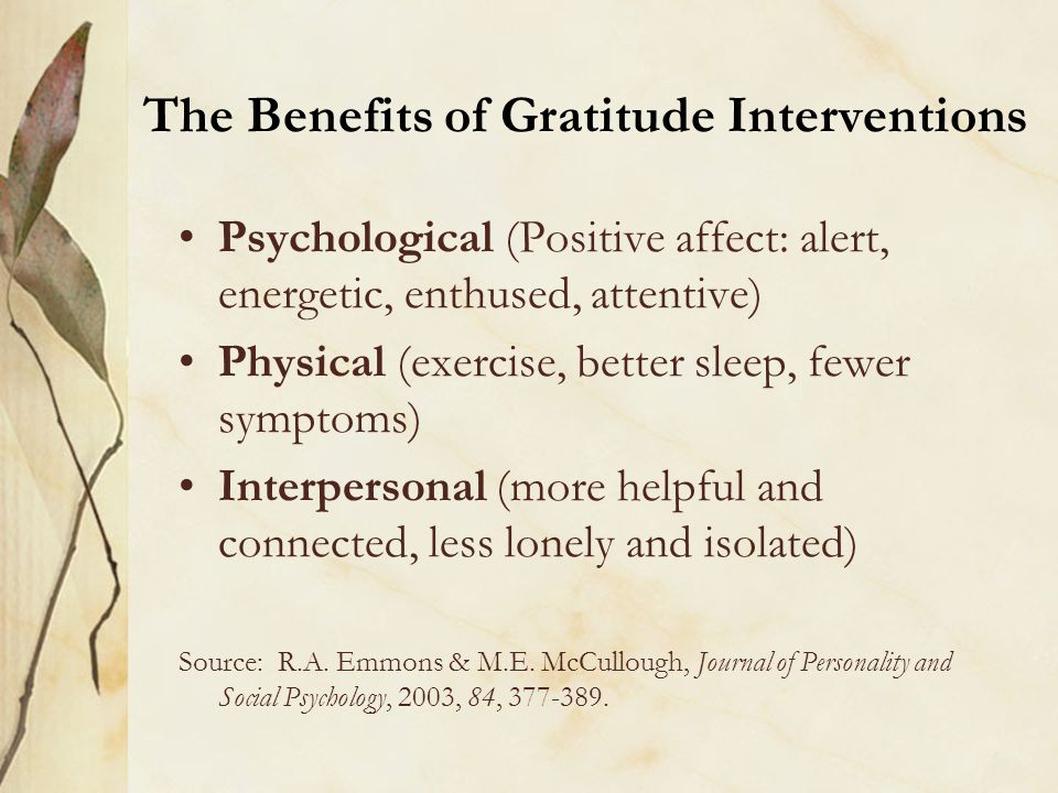 The Benefits of Gratitude Interventions