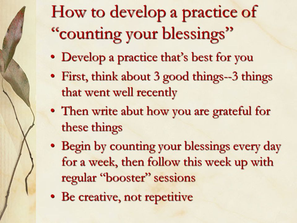 How to develop a practice of counting your blessings