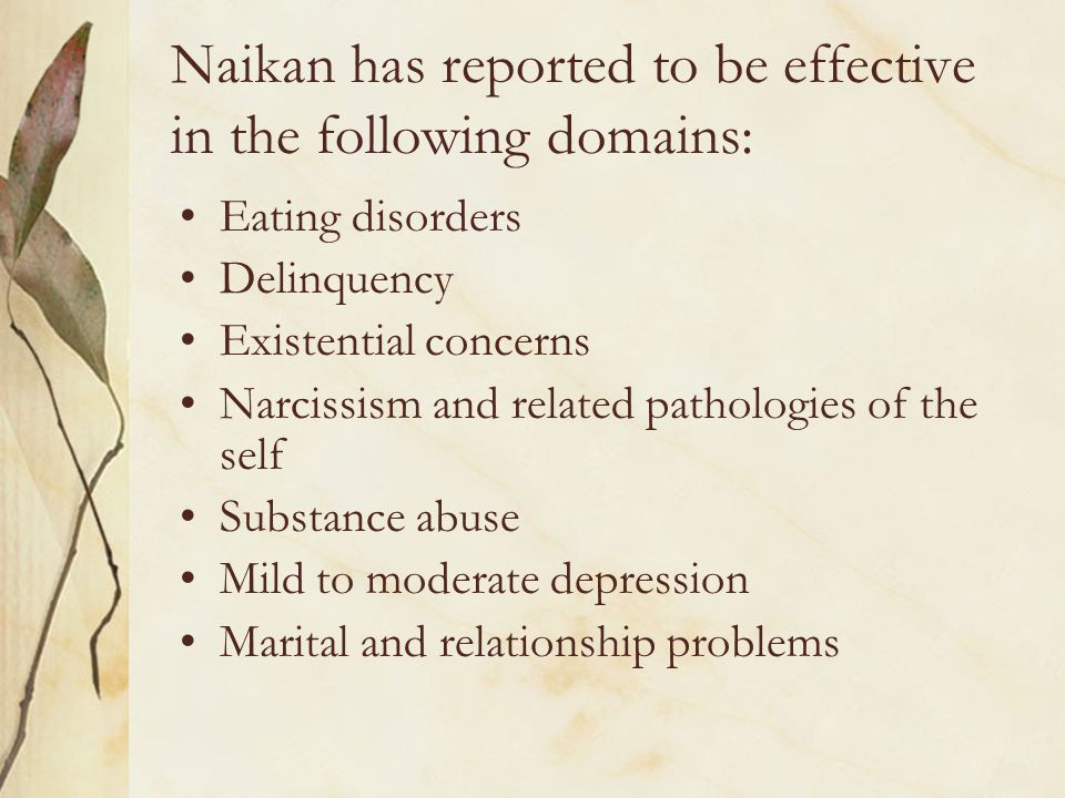 Naikan has reported to be effective in the following domains: