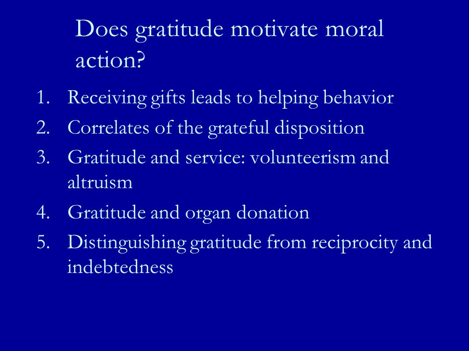 Does gratitude motivate moral action