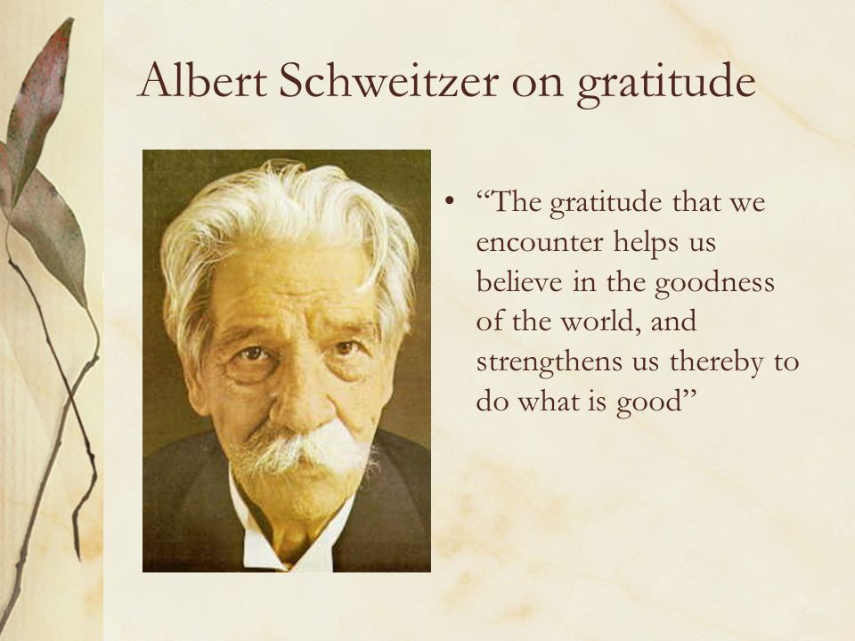 Albert Schweitzer on gratitude