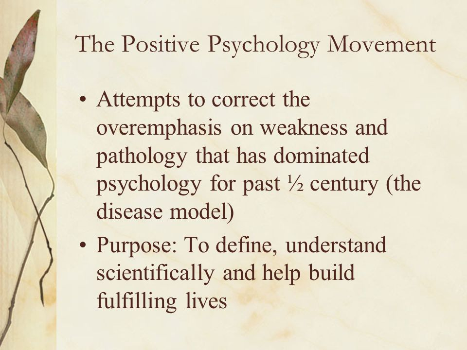 The Positive Psychology Movement