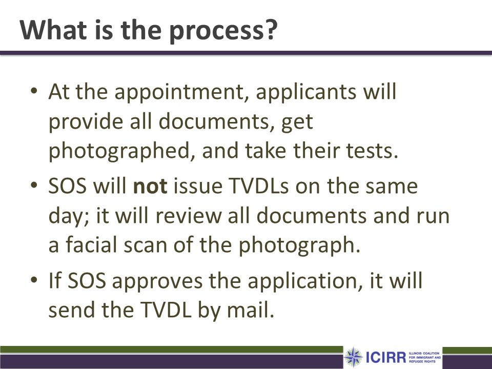 What is the process At the appointment, applicants will provide all documents, get photographed, and take their tests.