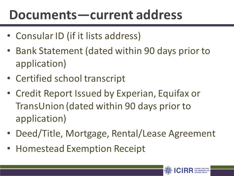 Documents—current address
