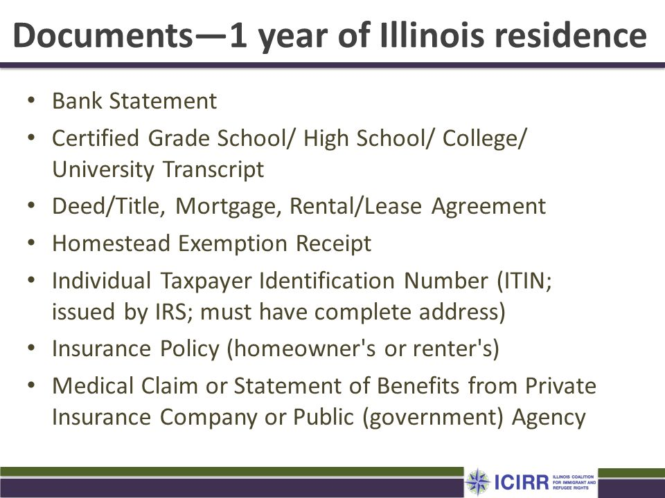 Documents—1 year of Illinois residence