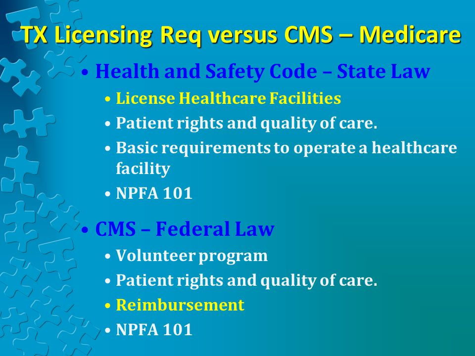 TX Licensing Req versus CMS – Medicare
