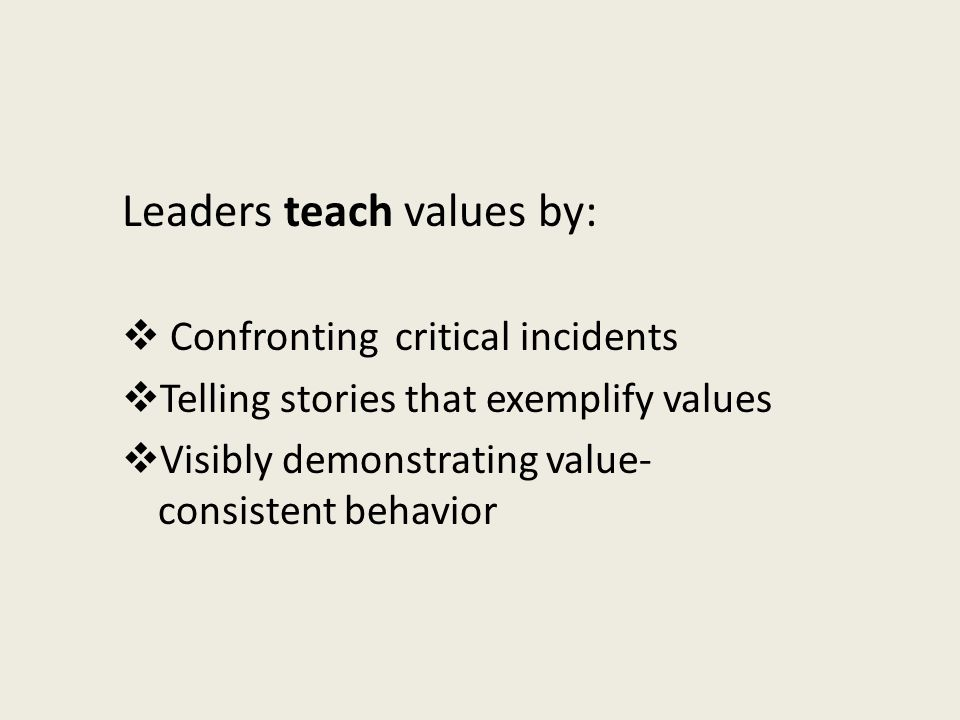 Leaders teach values by: