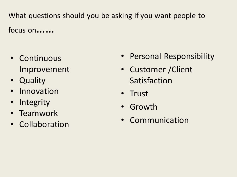 What questions should you be asking if you want people to focus on……