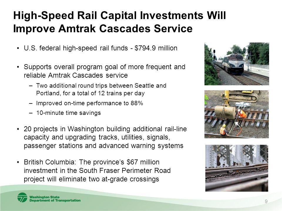 High-Speed Rail Capital Investments Will Improve Amtrak Cascades Service