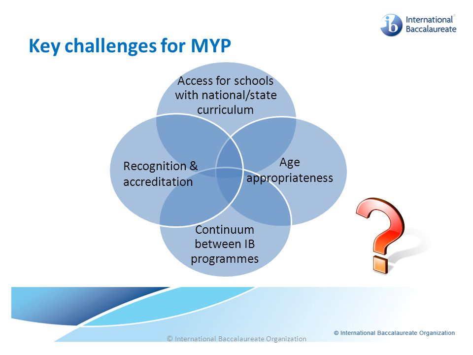 Key challenges for MYP Access for schools with national/state curriculum. Continuum between IB programmes.