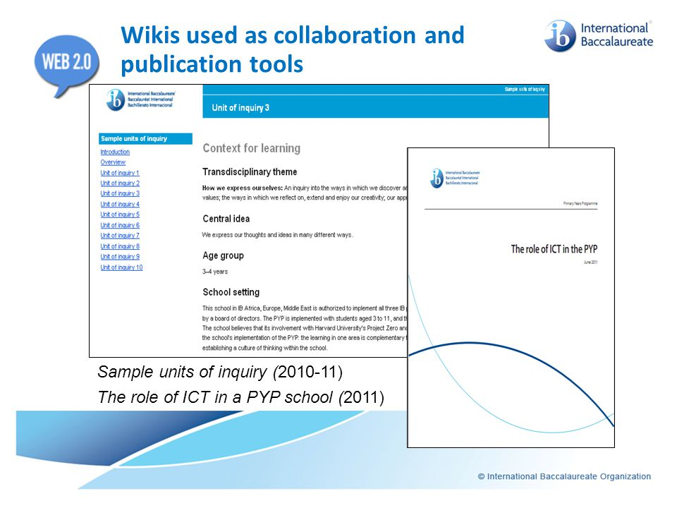 Wikis used as collaboration and publication tools