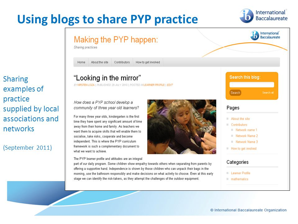 Using blogs to share PYP practice