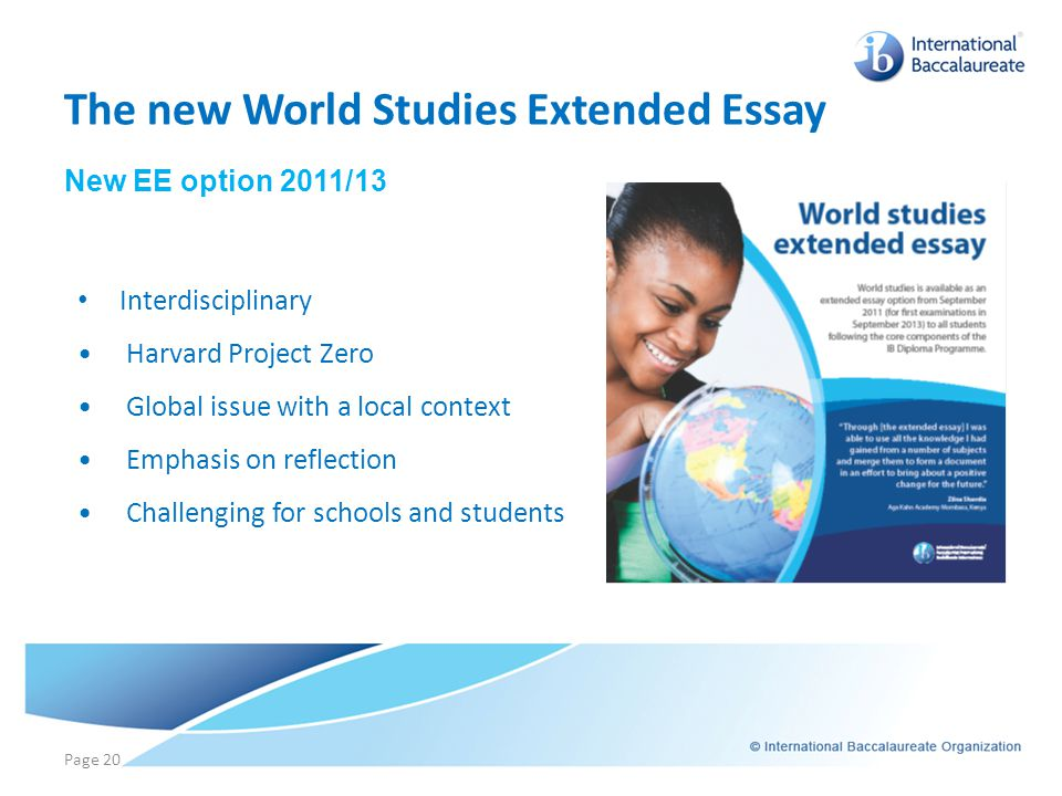 The new World Studies Extended Essay