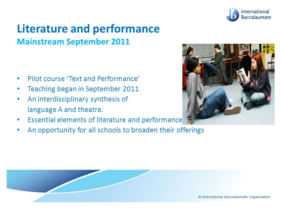 Literature and performance Mainstream September 2011