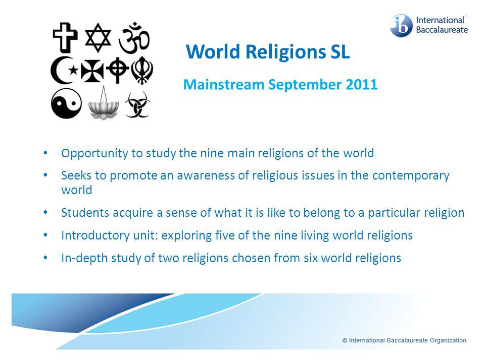 World Religions SL Mainstream September 2011