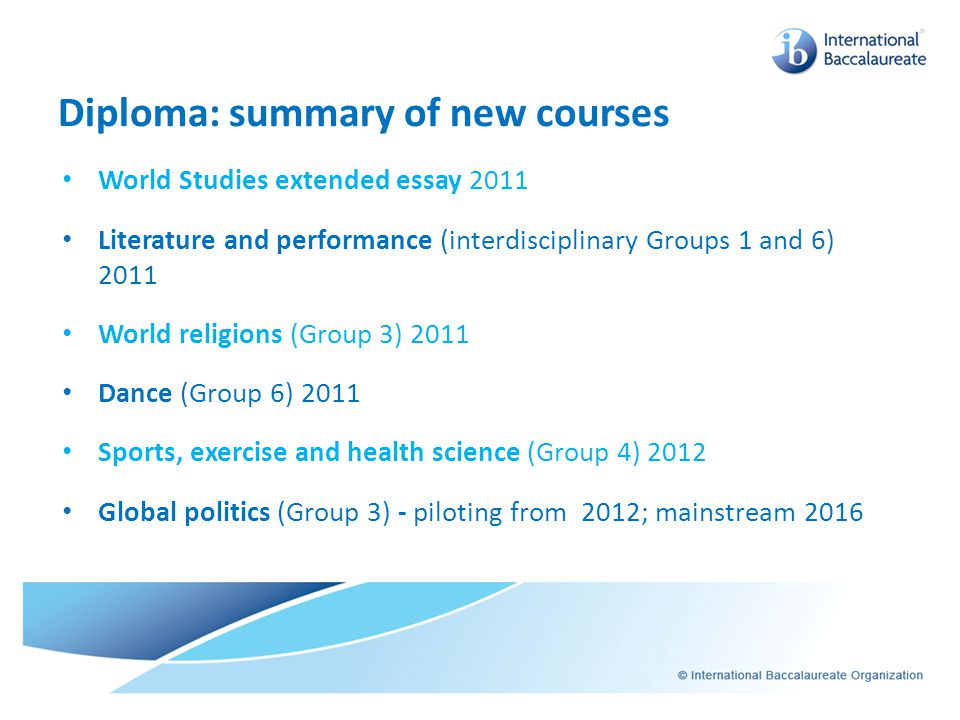 Diploma: summary of new courses