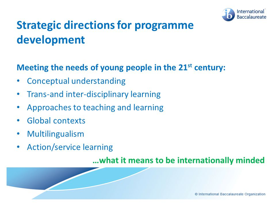 Strategic directions for programme development