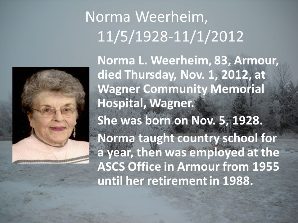 Norma Weerheim, 11/5/1928-11/1/2012