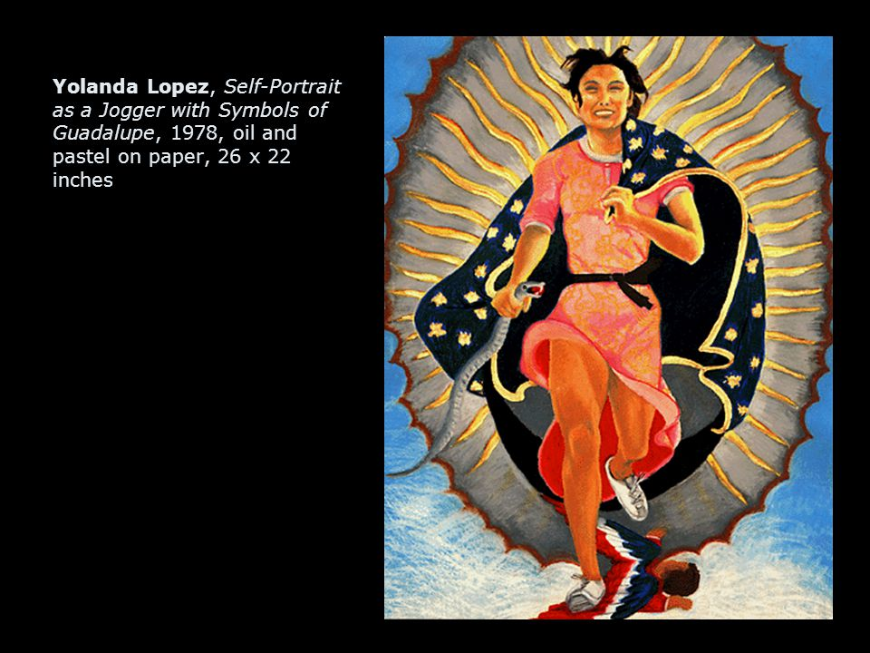 Yolanda Lopez, Self-Portrait as a Jogger with Symbols of Guadalupe, 1978, oil and pastel on paper, 26 x 22 inches