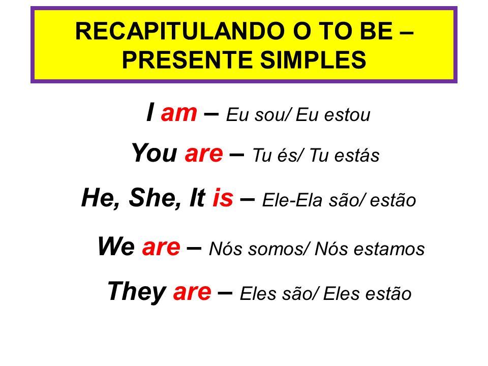 RECAPITULANDO O TO BE – PRESENTE SIMPLES
