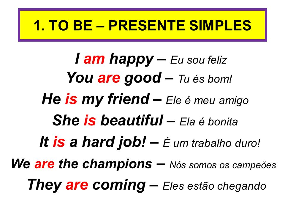 1. TO BE – PRESENTE SIMPLES