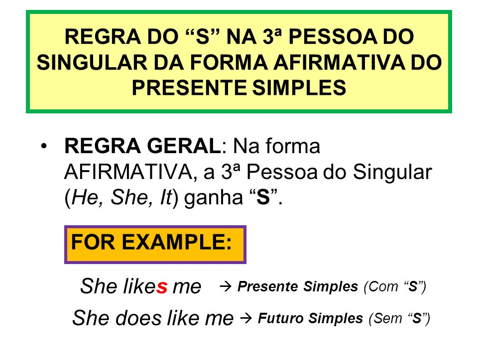 REGRA DO S NA 3ª PESSOA DO SINGULAR DA FORMA AFIRMATIVA DO PRESENTE SIMPLES