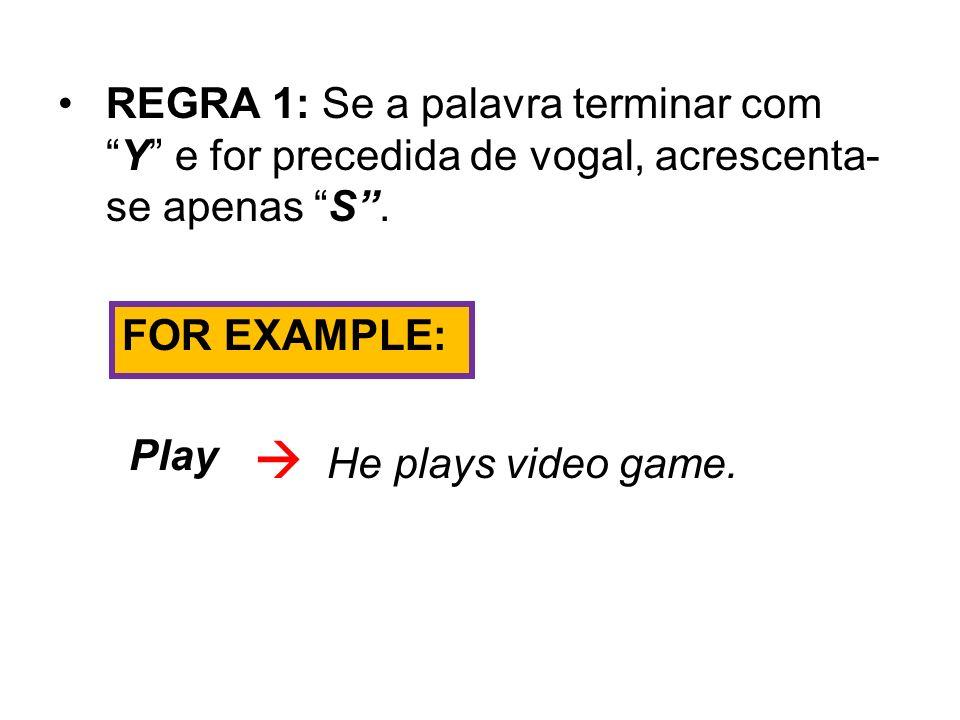 REGRA 1: Se a palavra terminar com Y e for precedida de vogal, acrescenta-se apenas S .
