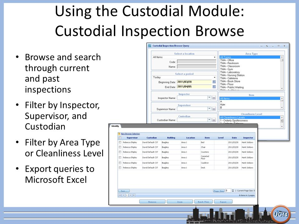 Using the Custodial Module: Custodial Inspection Browse