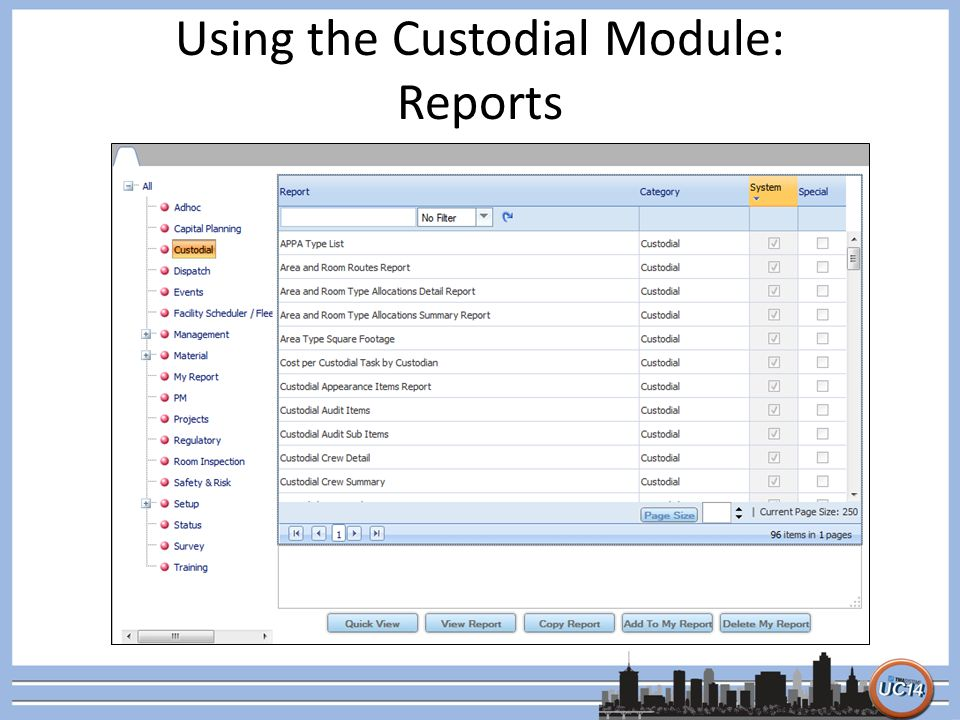 Using the Custodial Module: Reports