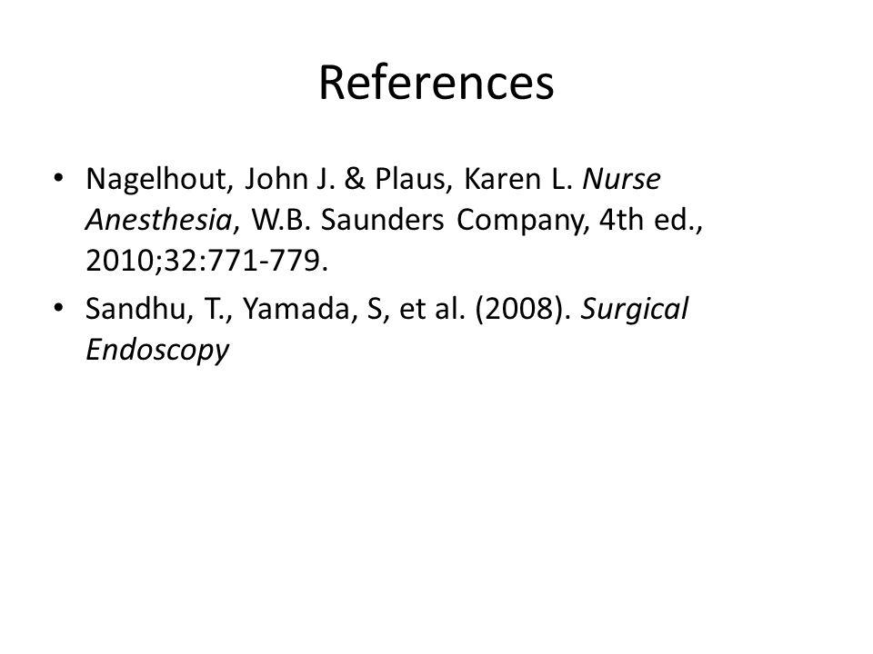 References Nagelhout, John J. & Plaus, Karen L. Nurse Anesthesia, W.B. Saunders Company, 4th ed., 2010;32:771-779.