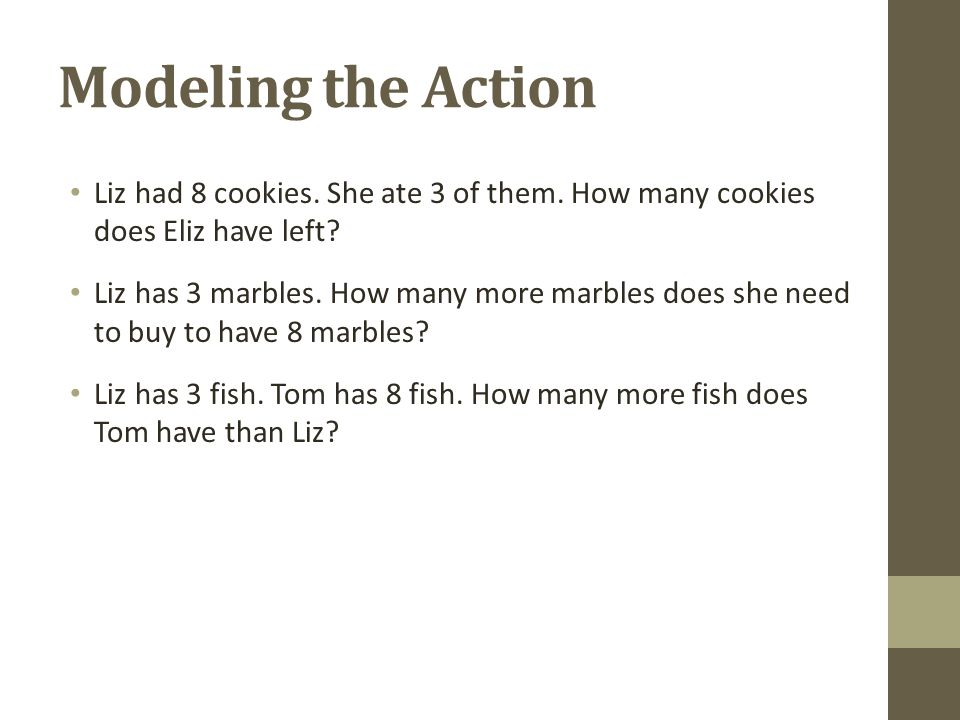 Modeling the Action Liz had 8 cookies. She ate 3 of them. How many cookies does Eliz have left