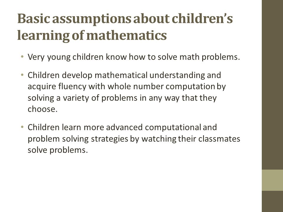Basic assumptions about children's learning of mathematics